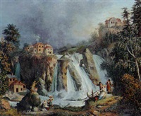 landschaft mit wasserfall by giovanni battista innocenzo colombo