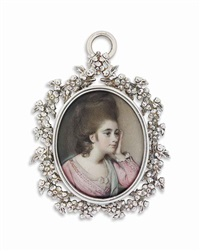 a young lady called lady manners, in pink dress over white underdress, peppermint green sash, upswept hair, her head resting on her left hand by george engleheart