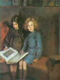 portrait of the artist's children, the twins john and    sylvia by edmund wyly (sir) grier