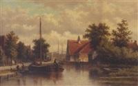 dutch canal scene by georgius heerebaart