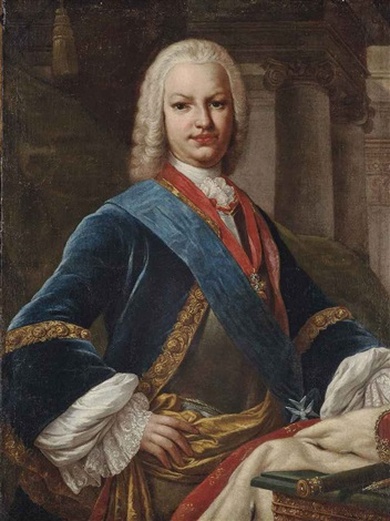 portrait of king ferdinand vi of spain 1713 1759 half length in a breastplate a blue frock lined with gold embroidery wearing a sash by jacopo amigoni
