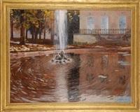 bassin et jet d'eau au grand trianon by francois marie léon de marliave
