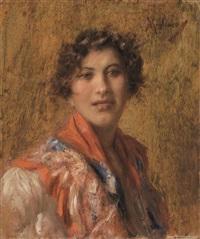 ritratto femminile con scialle rosso by vincenzo migliaro