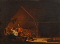 scène d'auberge avec paysans buvant by bartholomeus molenaer