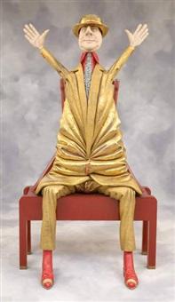 homme assis aux bras levés by olivier leloup