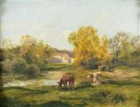 deux vaches aux abords de la ferme by charles henri quinton