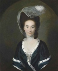 portrait of a lady, half-length, in a black dress with ermine trim, in a feigned oval by nathaniel hone the elder