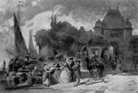 élégantes à l'ombrelle près d'un déchargement by charles théodore sauvageot
