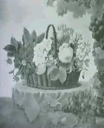 kurv med roser georginer og forglemmigej pa en sten omgivet af drueklaser by hanne elise jacobsen