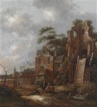 landschaft mit personen vor einer ruine by klaes molenaer