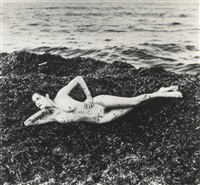 nude in seaweed, st. tropez (from private property suite i) by helmut newton