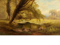 sheep watering in a glade by edward henry holder