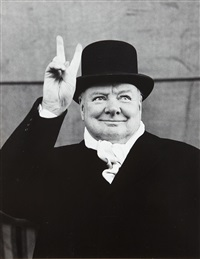 winston churchill gives the victory sign at a conservative party rally during the british election campaign, liverpool by alfred eisenstaedt