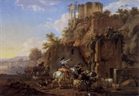 felslandschaft mit antiken ruinen by karl friedrich le feubure