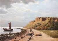 weite ostseeküste mit fischerboot und einer frau am strand by peter helbig