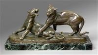 deux lionnes jouant by louis riché