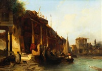 marchands dans le port de constantinople by jacob jacobs