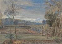garden at twilight by william leighton leitch