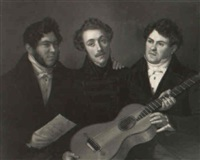three men with a guitar by benjamin orth