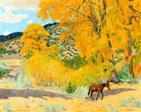 autumn in taos canyon by walter ufer