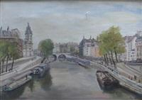 vue de paris, pont de la cité by lucien adrion