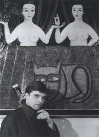 guy bourdin vor einem seiner gemälde by jack nisberg