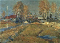 le chemin du village by aleksandr pavlovich gushchin