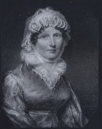 the hon. jean rollo wearing pale blue-green dress with frilled white collar, white bonnet tied beneath her chin and mauve shawl shot with gold braid by william john (sir) newton