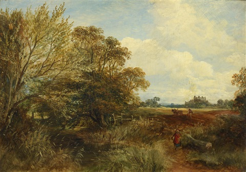 ploughing with a figure dressed in red entering the field by samuel bough