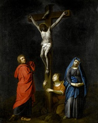 the crucifixion with the virgin, saints mary magdalen and john the baptist by gabriel metsu
