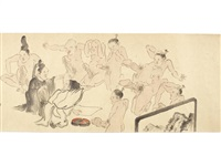 kohaku gassen (a contest between women and men) by anonymous-japanese (edo period)