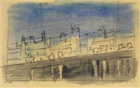street lights i, paris by lyonel feininger