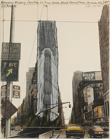wrapped building project for 1 times square new york by christo and jeanne claude