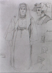 sketches with turkish men and women by théodore valerio