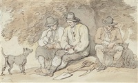 labourers resting beneath a tree by thomas rowlandson