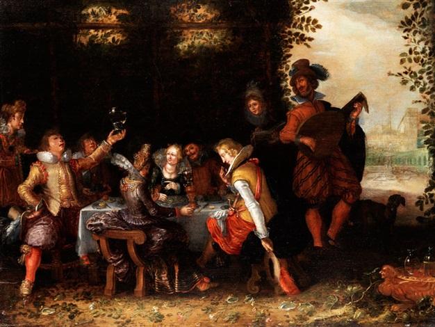 höfische tafelgesellschaft im park mit einem lautenspieler by david vinckboons