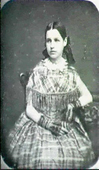 portrait of elizabeth risley naylor wearing a plaid dress  with fringe and lace gloves by samuel root