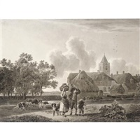 a peasant family bearing baskets walking beside a canal, with a village to the right by leendert de koningh