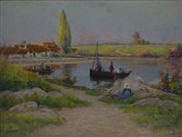 hameau de pêcheurs vers concarneau by mathurin janssaud