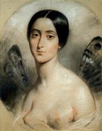 portrait de mademoiselle stock aux ailes de papillons by françois gabriel guillaume lépaulle