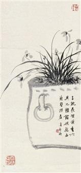 兰花 立轴 水墨纸本 by bai jiao