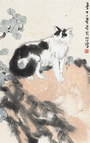 猫石图 a cat standing on the rock by xu beihong