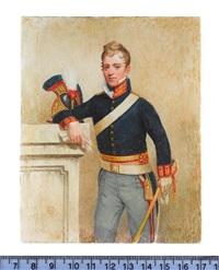 an officer of royal horse guards, wearing blue coat, with red and gold collar, cuffs and sash, a sword in his left hand by michael bartlett