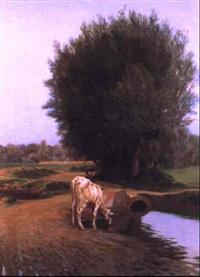 mucca al pascolo presso un rio by cesare viazzi