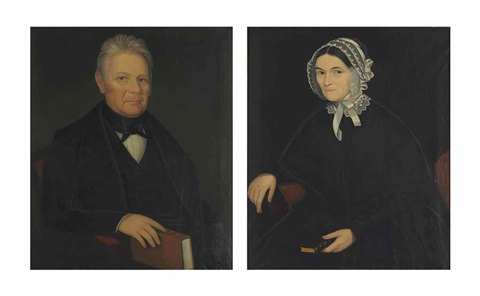 portraits a man holding a book and his wife pair by ammi phillips
