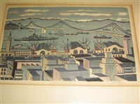 warship and bridge (+ 2 others; 3 works, various sizes) by mildred rackley
