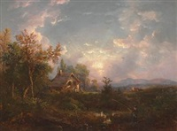 landscape with man fishing by régis françois gignoux
