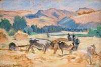 scène de battage du blé en kabylie by jean désiré bascoules
