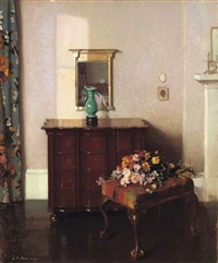 interior with a green vase by james bell anderson