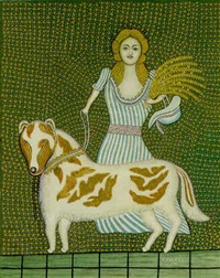 girl with dog by morris hirshfield